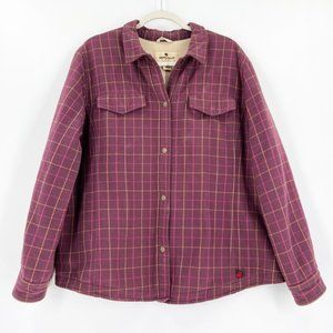 Woolrich Shacket Plaid Flannel Sherpa Purple XL